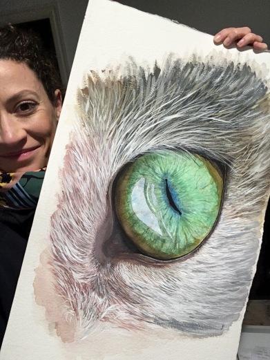 Estudio del ojo del gato. Acuarela y Gouache.